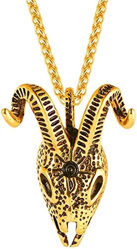 NC122 Colgante y Collar de Cadena de antílope de Color Dorado para Hombre, joyería de Moda, Collares de Animales de Acero Inoxidable Hip Hop