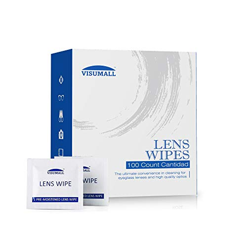 Eyeglass Cleaning Tissues Lens Wipes - 100 Pre-Moistened and Individually Wrapped Lens Cleaning Wipes Great for Eyeglasses, Tablets, Camera Lenses, Screens, Keyboards, and Other Delicate Surfaces.