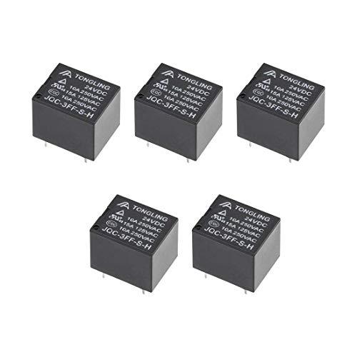5 piezas JQC-3FF-S-H DC 24V bobina SPST 4 pines PCB relé de potencia electromagnética