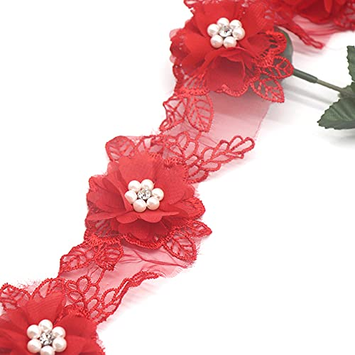 H692 Perla Flor Organza Encaje Trim Recortes de tejer boda Encaje bordado DIY Patchwork Cinta de costura Suministros Craft-no1 rojo