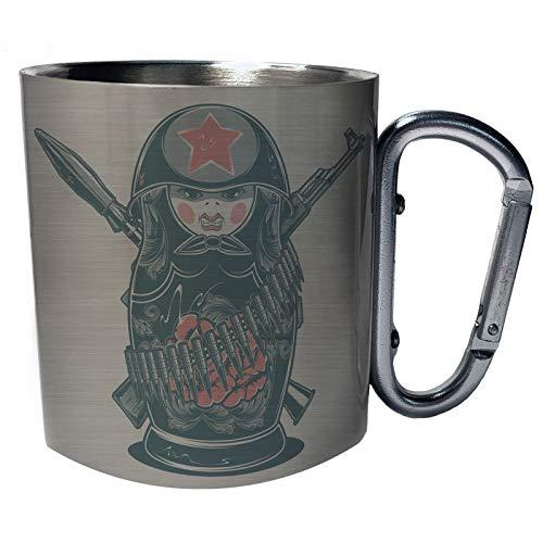 Matrjoschka Russischer Puppensoldatenkrieg Edelstahl Karabiner Reisebecher 11oz Becher Tasse aa830c