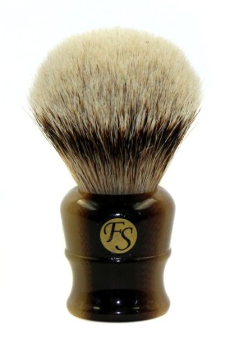 Super Large Silvertip Badger Shaving Brush with Faux Horn Handle Comes with Free Stand (Light Horn)