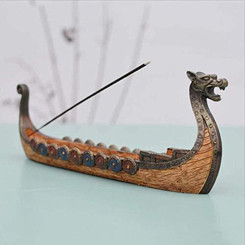 Incienso Quemador Resina Vikingo Barcos Palo Incienso Titular Retro Naves Ornamento decoración Arte Acorazado Well