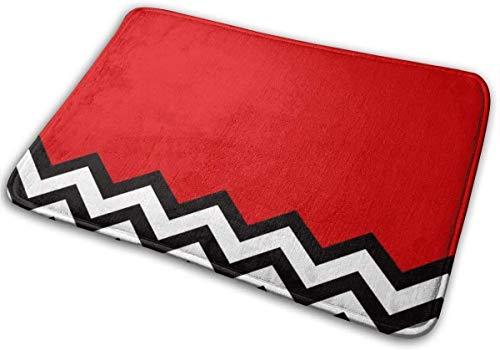 Zerbino per ingresso e bagno, antiscivolo, con strisce rosse e nere, 80 x 50 cm
