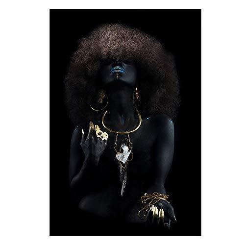 Mujeres negras africanas con pelo esponjoso dedo dorado lienzo pintura carteles e impresiones para la pared de la sala de estar cuadros de decoración sin marco N20 60x90cm