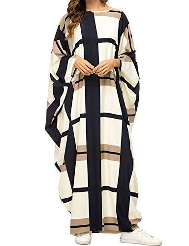 Qianliniuinc Islamisches Gebet Baumwolle Muslimische Kleider-Abaya Dubai Damen Maxi Kleid Kaftans Arabische Kleidung Jalabiya