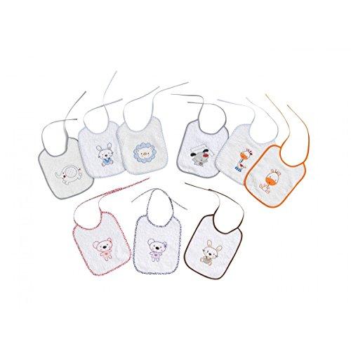 Interbaby 00146 - Pack de 12 baberos de rizo 20x25, unisex
