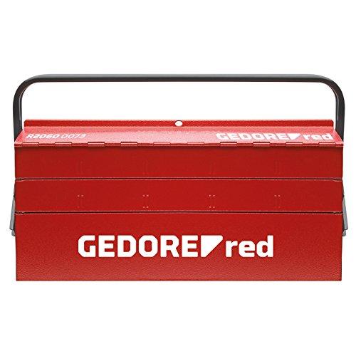 GEDORE red Werkzeugkasten 5 Fächer, leere Werkzeugkiste aus Stahl zum Transport von Werkzeugen