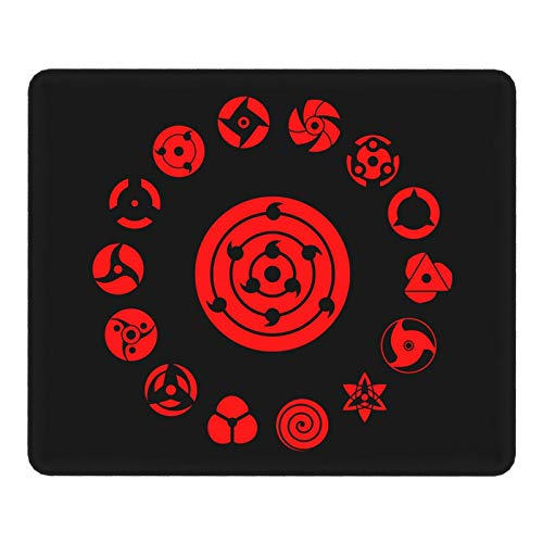 Anime Naruto Uchiha Sharingan Mouse Pad Gaming Mouse Pad Non-Slip Rubber Base with Stitched Edge Computer Pc Mousepad for Home Office