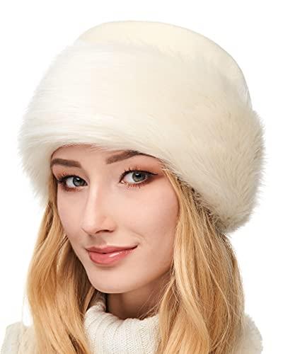 Futrzane Mütze Fellmütze Vlies Pelzmütze Wintermütze Damenmütze (M, Ecru - Ecru Kaninchen)