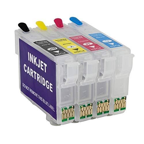 4 wiederbefüllbare Tintenpatronen mit Auto-Reset-Chips T16 kompatibel mit WorkForce WF-2010, 2510, 2520, 2530, 2540, 2630, 2650, 2660, 2750, 2760
