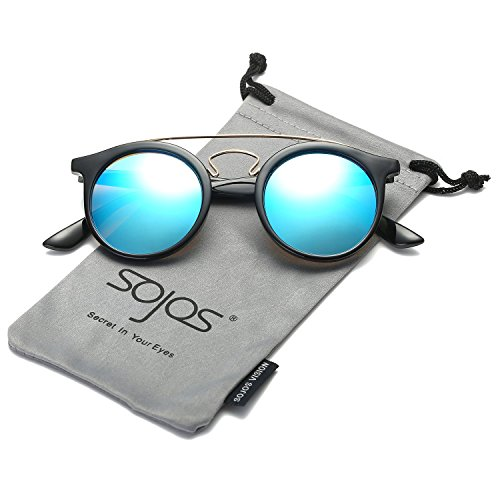 SojoS Classic Mens Womens Double Metal Bridge Round Sunglasses SJ2024 With Black Frame/Blue Mirror Lens