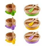 Creative Cuenco de madera con ventosa para niños, cuenco de alimentación anti-quemaduras de frutas, plato de ensalada, herramienta de comedor para decoración de escritorio