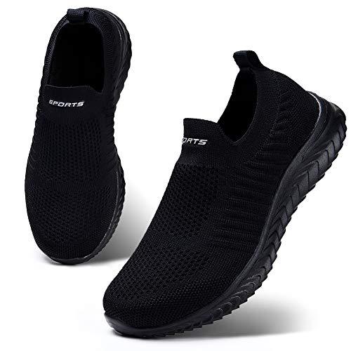 HKR Damen Slip On Sneakers Walkingschuhe Leichte Atmungsaktiv Freizeitschuhe Outdoor Gym Bequem Turnschuhe Schwarz 38 EU