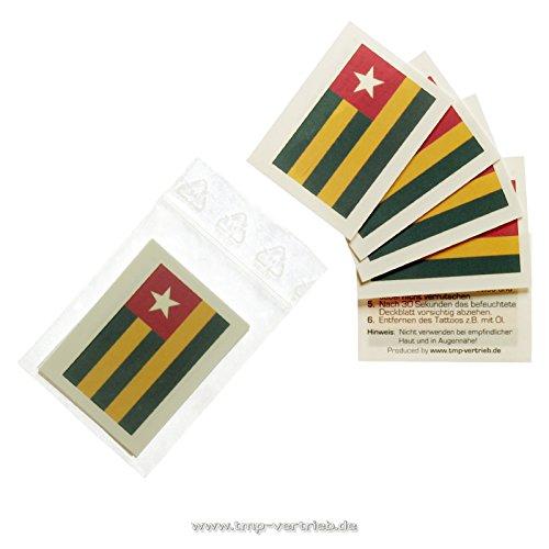 10 x Togo Tattoo Fan Fahnen Set - Togo temporary tattoo Flag (10)