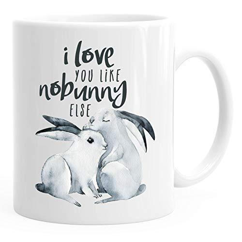 Kaffee-Tasse Hase I love you like nobunny else Geschenk Liebe Spruch Liebespruch Wortspiel MoonWorks® weiß unisize