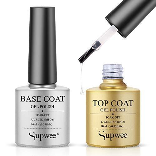 of nail base coats Supwee Combination Nail Base & Top Coats No Wipe Top Coat and Base Coat Set 2x10ml Gel Nail Polish Shine Finish and Long Lasting