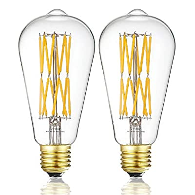 Leools Filament LED Edison Bulb 15W Dimmable 2700K Warm White 1300LM, 120W Incandescent Equivalent E26 Base, ST64 Vintage LED Filament Bulbs, 360 Degrees Beam Angle, Pack of 2