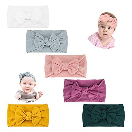 Makone Diademas para bebé, súper elástico, suave, turbante con nudo para bebé, multicolor, diadema para bebés recién nacidos, diadema (6 Piezas)