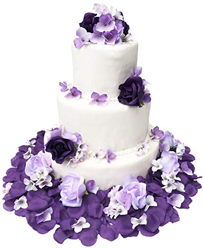 TheBridesBouquet Wedding Cake Topper | Purple and Lavender Wedding Decorations for Reception | Artificial Flowers