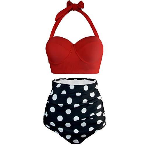UPhitnis Damen Groß Größe Bikini Set High Waist Badeanzug Retro Stil Bademode Backless Plus Size Badebekleidung