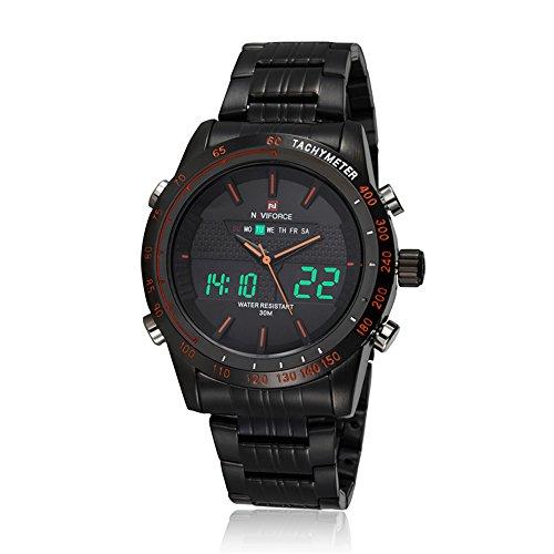 Naviforce - Reloj digital y analógico para hombre, correa de acero inoxidable, multifunción, color naranja