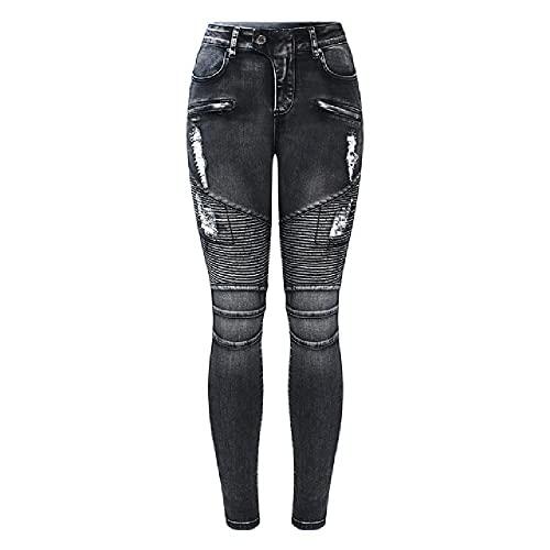 N\P Pantalones vaqueros negros con cremallera para motociclista para mujer, cintura alta, elásticos, pantalones ajustados