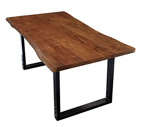 SAM Esstisch aus Akazie Massivholz mit Baumkante Stahlgestell Schwarz Nussbaum 200x100 cm