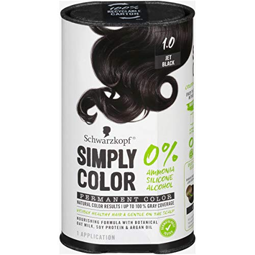 Schwarzkopf Simply Color Permanent Hair Color, 1.0 Jet Black Louisiana