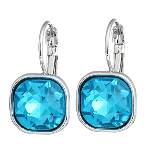 Hellery Pendientes Colgantes de Cristal Elegantes Diamante de Imitación Nupcial Cuelgan Tachuelas de Baile - Azul, 2,5 x 1,5 cm
