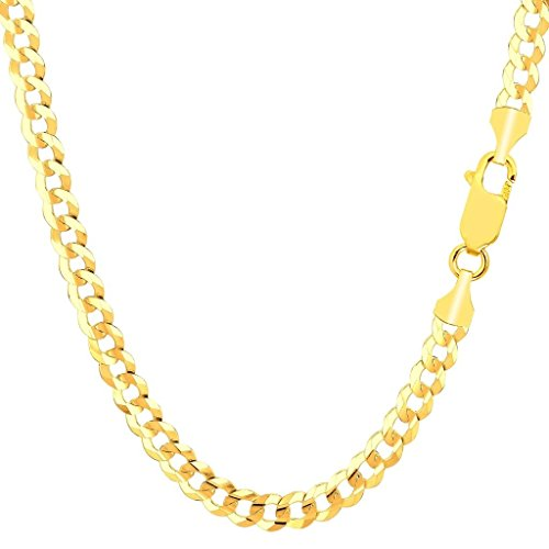 14K Solid Yellow Gold 3.2MM, 4.5MM, 5.5MM, 7MM and 8MM Thick Heavyweight Cuban Curb Link Chain Necklace or Bracelet- Lobster Claw (22, 5.5MM)