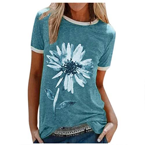 Xniral Damen Good T-Shirt Chrysantheme Muster Shirt Rundhals Kurzarm Oberteile Hemd Tops Bluse Sommer Oben Grafik Drucken Tee(c-Blau,L)