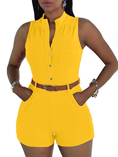 XXTAXN Women's Sexy V Neck Rompers One Piece Short Jumpsuit with Belt and Pockets Yellow