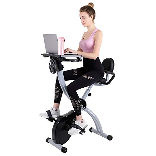 Beliwin Folding Exercise Bike Home 8 Level Magnetic Resistance with Transport Wheels and Backrest Adjustable Seat LED Monitor Heart Rate for Home office