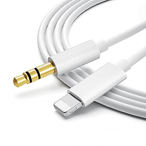 BEYEAH Auto AUX Kabel, Aux Kabel auf 3,5mm Premium-Audio Kabel für Auto Stereo/Kopfhörer/Lautsprecher System/Home/Auto-Stereoanlagen für Phone 12mini / 12 Pro Max / 11/11 Pro/XS/XS Max/SE2 (Weiß)