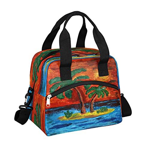 MOMOYU Ocean Island - Bolsa de almuerzo aislada, reutilizable, bolsa de picnic impermeable, organizador de almuerzo con correa de hombro ajustable para la escuela, playa, trabajo, deporte, viajes
