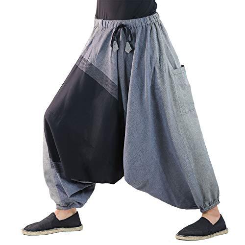 KUNST UND MAGIE Unisex Haremshose OneSize mehrfahrbig, Farbe:Grau/Schwarz, Größe:One Size