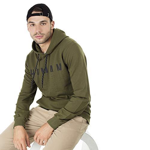 BURATTI - Sudadera con capucha para hombre, con bolsillo tipo canguro verde-2 XL