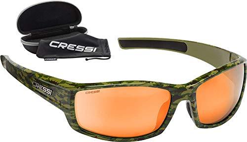 Cressi Hunter Sunglasses Gafas de Sol Deportivo, Adultos Unisex, Verde Camuflaje/Lentes Espejadas Naranja, Talla única