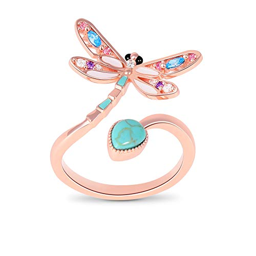 GNOCE Turquoise Dragonfly Ring 18k Rose Gold Plated Adjustable Women Rings Eternity Promise Rings for Her