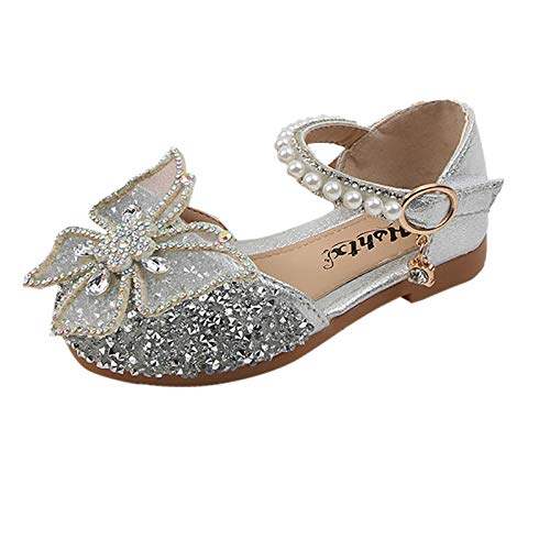 Zapatos de bebé para niña, con lazo de cristal, sandalias de princesa, zapatos de piel suave para niños pequeños de 1 a 11 años de edad., plata, 26