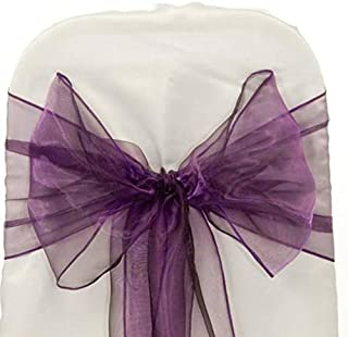 mds Pack of 10 Organza Chair Sashes/Bows sash for Wedding or Events Banquet Decor Chair Bow sash -Eggplant