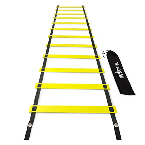 Yes4All Agility Ladder  Speed Agility Training Ladder with Carry Bag  12 Rung (Yellow)