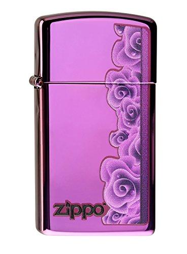 Zippo 60000058 Purple Roses Slim Feuerzeug, Messing, Edelstahloptik, 1 x 3,5 x 5,5 cm