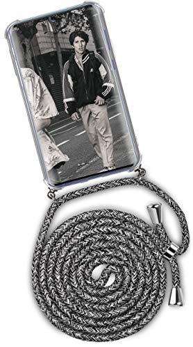 ONEFLOW Handykette kompatibel mit Samsung Galaxy S10 Lite - Handyhülle mit Band zum Umhängen Hülle Abnehmbar Smartphone Necklace - Hülle mit Kette, Schwarz Grau Weiß