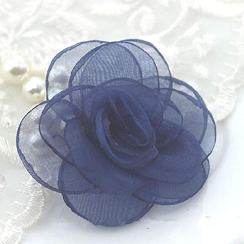 10 stks glasgaren rose bloem haar accessoire haar clip accessoires diy haarspeld materiaal koreaanse gebrand sneeuw garen camellia rs161, navy