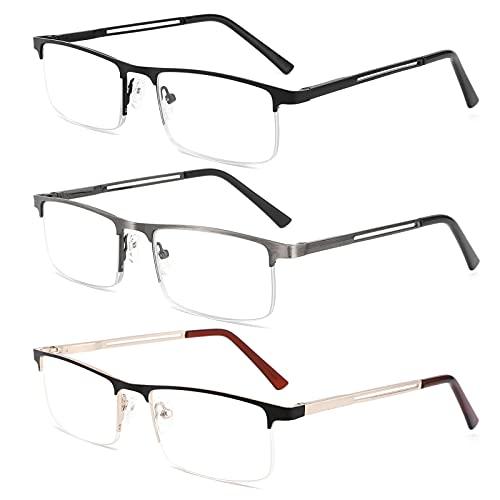 HOTJOJO 3 Pack Reading Glasses for Men Blue Light Blocking Semi Rimless Computer Readers,Metal Frame Rectangle Magnifying Eyeglasses (3 Colors, +1.50 Magnification)