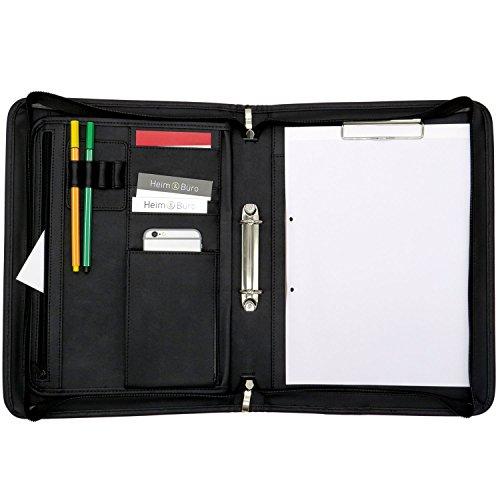 ONVAYA® Konferenzmappe A4 | schwarz | Aktenmappe | Businessmappe | Schreibmappe mit Block | strapazierfähiges Kunstleder | Dokumentenmappe