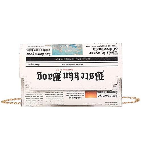 WEIFLY Abendtasche Für Frauen, Umschlag-Beutel Frauen Personality Inkjet Zeitung Clutch Bags Joker-Schulter-Kurier-Beutel-Ketten Abendtaschen