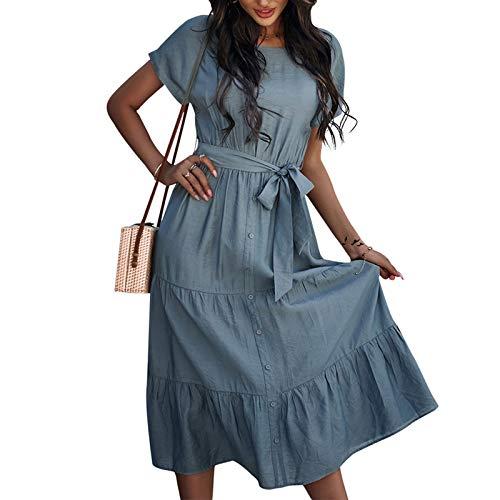CPNG Sommerkleid für Damen Einfarbig Lässig Kurze Ärmel mit Enger Taille Kleid mit Rundhalsausschnitt (Blau,M)